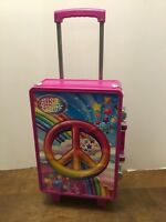 Lisa Frank Peace Sign Rainbow Pink Hard Plastic Rolling Luggage Suitcase Storage