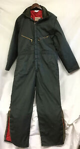 """Walls Blizzard Pruf Large (42-44) Short (27"""") Insulated Coveralls Workwear green"""