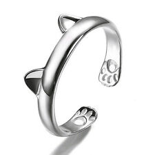 Silver Cat Ear Ring Claw Open kitten Ring Adjustable Paw Animal Women 925 PLT UK