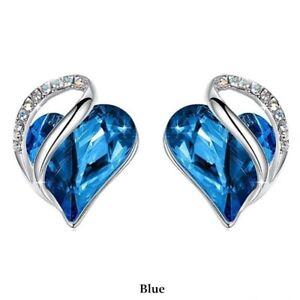 Simple Silver Love Heart Blue Zircon Stud Earring Party Wedding Jewelry Gifts