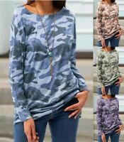 Womens Camouflage Printed Tops Casual Long-Sleeved T-Shirts Blouse Tee Pullover