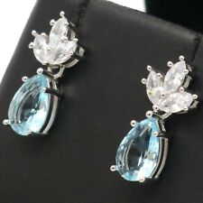 Unique Pear Blue Aquamarine Earrings Women Jewelry Gift White Gold Plated
