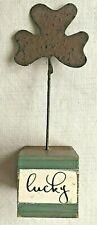 "Irish St. Patrick's Day ""Lucky"" Metal Shamrock Wood Block Table Shelf Sitter"