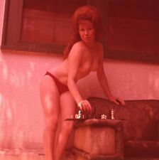 1960s Ron Vogel Transparency, foxy nude redhead pin-up girl, chess, t994327