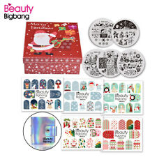 11PCS Christmas Nail Art Stamping Plates Manicure Stickers Xmas Decor Tool Set