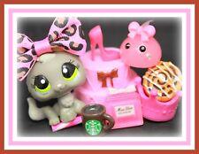 ❤️Authentic Littlest Pet Shop LPS #1035 Grey BABY Kitten Cat PINK Starbucks❤️
