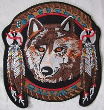 Rare Large Colour Lone Wolf Feather Motorcycle Biker Embroidered Sew Badge Patch