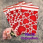 30 Designer Printed Poly Mailers 10X13 Shipping Envelopes Bags RED HEARTS