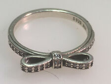 GENUINE PANDORA STERLING SILVER & CZ BOW RING SIZE 6.5