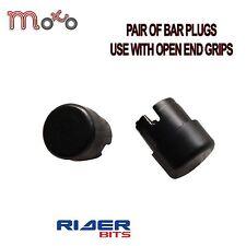Moto barra tapones Negro Manillar Par Plástico 22mm Tapas Scooter