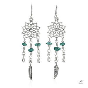 925 Sterling Silver Lotus Mandala Dream Catcher Dangle Earrings, Turquoise stone