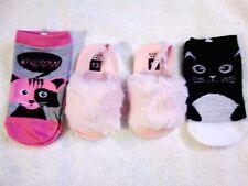 Girls/Infant Plush Furry Pink Sandals Slip On & 2~S/M Kitty Socks 24 MO. EUR 13