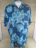 UNBRANDED men Hawaiian ALOHA shirt L pit to pit 24 rayon hibiscus floral luau