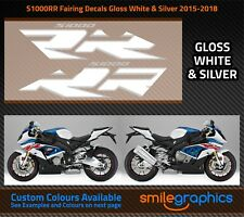 BMW S1000RR Fairing Decals. 2015-18 - Gloss White & SIlver Stickers