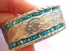 VTG Sterling Silver Turquoise Southwestern Navajo Stamped Cuff Bracelet Signed