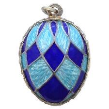 Pendentif Oeuf style Fabergé en Argent plaqué Or pendentif Emaux multicolores