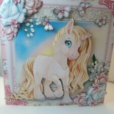 Handmade 3D girls little unicorn pony blank birthday card with envelope