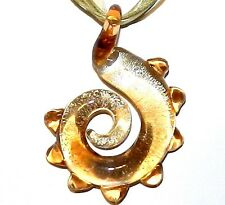 MN387L Brown Swirl Silver Foil Lampwork Lampwork Glass Necklace w Silver Clasp