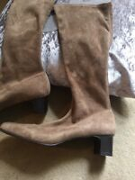 Stretch Boots Ladies Size 40 Uk 7 Tan Suede