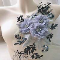 Silver Gray 3D Flower Lace Embroidery Bridal Beaded Applique DIY Wedding Dress