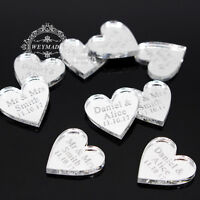 50 Personalized Engraved Mr & Mrs Silver Love Hearts Wedding Table Decor Favours