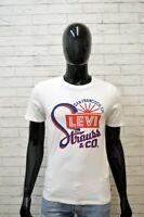 Maglia Bianca Uomo LEVIS Taglia S Slim Polo Shirt Man Manica Corta Chemise Hemd
