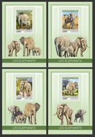 Guinea - 2019 Elephants on Stamps - Set of 4 Souvenir Sheets GU190106b