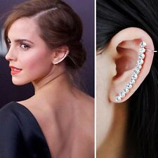 Fashion Women Ladies Row Rhinestone Crystal Full Ear Clip Cuff Silver Earring