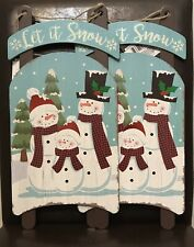 "New 2 Christmas Hanging Door Decoration Sled Shape Snowman ""let it snow"""