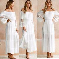 Womens Boho Off Shoulder Dress Long Sleeve Evening Party Beach Fairy Maxi Dress