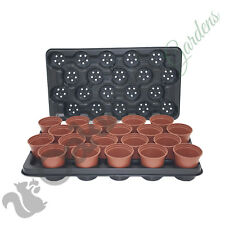 100 x 9cm Plant Pots + 5 x Carry Trays Combo Plastic Flower Pot Terracotta