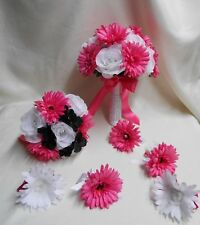 Silk Flowers Wedding Bridal Bride Bouquet 18 pcs Package Fuchsia Hot Pink White