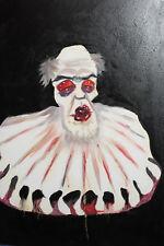 Vintage expressionist clown portrait oil painting