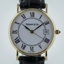 Tiffany & Co, 14K Solid Yellow Gold, Vintage, Unisex, White Roman Numerals Dial