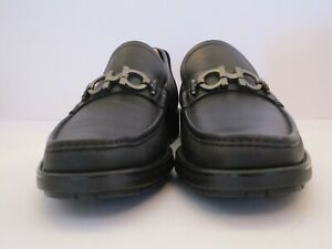 Men's Salvatore Ferragamo Black Gancio Bit Loafers Size 9 D