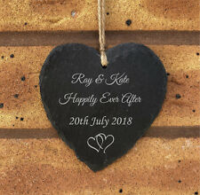 Personalised Slate Hanging Heart  - Happily Ever After - Bride & Groom Wedding