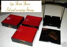 BENTO BOX boxes Crane STACKING black JUBAKO obento 3 tier carry carrying HANDLE