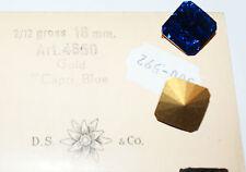 SWAROVSKI ® - 1 Pz  Cabochon Quadrato 4650 -18 mm Capri Blue Vintage Gold F.