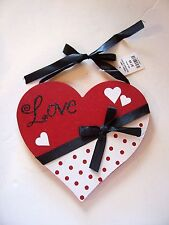 WOOD RED BLACK WHITE LOVE HEART DECORATION WEDDINGS CHRISTMAS