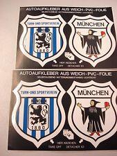 2 xAutoaufkleberkarten (4Stück) TSV 1860 München Fussball Fanartikel