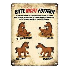 Metallschild Pferde mit Motiv: Pferde und Spruch: Bitte nicht füttern Schild