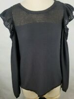 LC Lauren Conrad Womens Size Small Gray Knit Cold Shoulder Long Sleeve Top New
