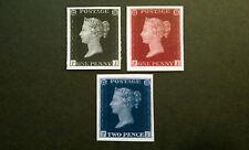 1840 Uk British 1P Black, 2P Blue, 1P Red - Set Matching Plate#s (Facsimile)