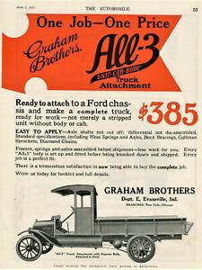 1917 Vtg Orig GRAHAM BROTHERS 2-Pg 2-COLOR Ad. Truck Attachment. Evansville, IN