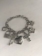 GUESS Charm Bracelet Silver Tone Hearts Crown Cross Key Lock Motif