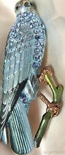 Blue Rhinestone Crystal Bird Robin Finch Sparrow Brooch Pin