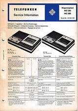 Service Manual-Anleitung für Telefunken Magnetophon MC 300, MC 500