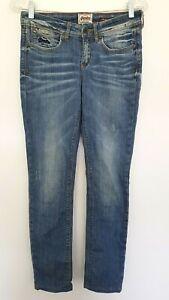 SUPERDRY women's Designer Medium Washed blue Skinny leg low rise jeans 27W 32L