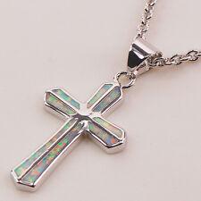 Cross White Fire Opal Gemstone 925 Sterling Silver Fashion Jewelry Pendant P121