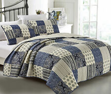 Quilts Coverlet King Size 245cm x 265cm Blue & WHite include 2 pillowcases